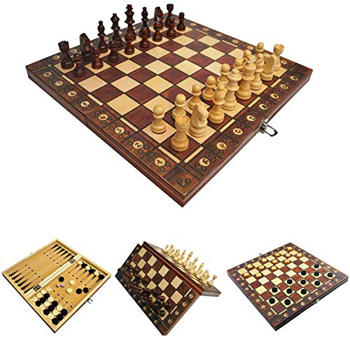 LAANCOO Ajedrez Plegable magnético Junta 3 en 1 Placa de ajedrez Plegable de Madera de ajedrez de Brown Junta Set 44 * 44cm