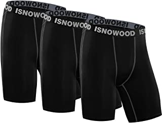 isnowood Men's 3 Pack Performance Compression Shorts Spandex Underwear