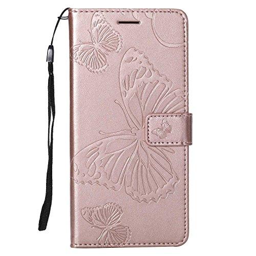 DENDICO Hülle für Galaxy A6 Plus 2018, PU Leder Flip Brieftasche Handyhülle Schutzhülle mit Standfunktion und Kartenfach für Samsung Galaxy A6 Plus 2018 - Roségold