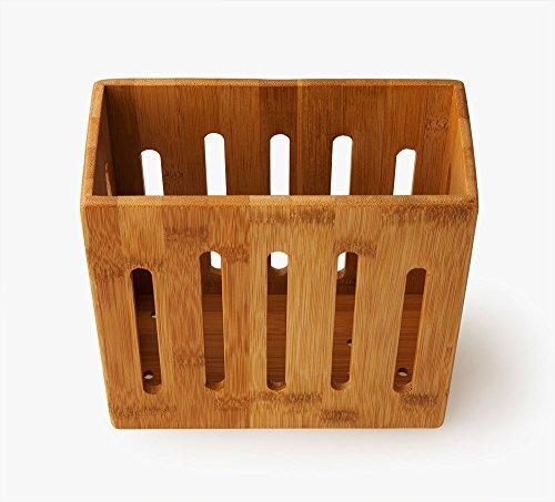 Utensilienhalter Besteckständer Besteckhalter Aufbewahrungsbox aus Bambus - Küchenutensilienkorb - L 19 cm x B 9 cm x T 19 cm