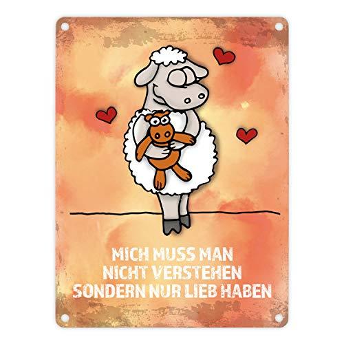 trendaffe - Metallschild mit Schaf Motiv und Spruch: .Nicht verstehen, nur lieb haben