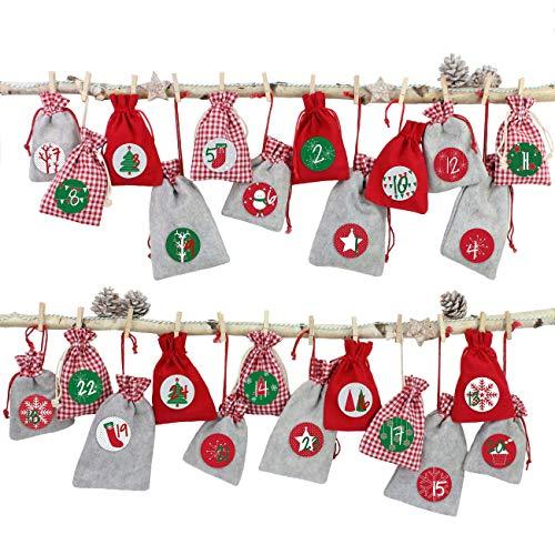24 Sacchetti di Tessuto Calendario dell'avvento da riempire - con cordicella del fornaio e Le staffe di Legno - per l'auto Decorazione - Rosso-Grigio