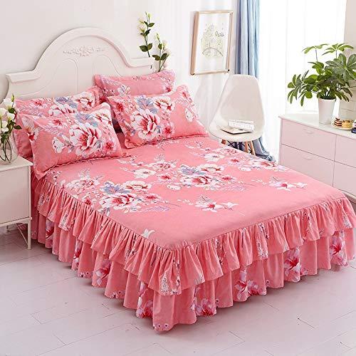 CQZM Bilateral Drucken Bettvolant Babybett Elastizität Mit Rüschen Bed Skirt rutschfest Atmungsaktiv Bettrock Tagesdecke Knitterfest Für Schlafzimmer Wohnheim EtcE-180x200cm(71x79inch)