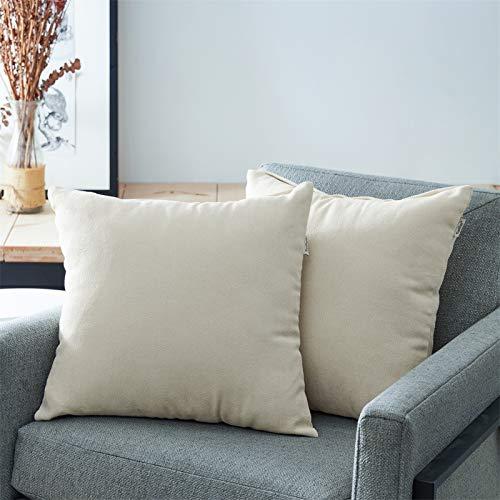 Topfinel Juego 2 Fundas Cojines Sofas de Algodón Lino Chenilla Duradero Almohadas Decorativa de Color sólido para Sala de Estar, sofás, Camas, sillas 50x50cm Beige