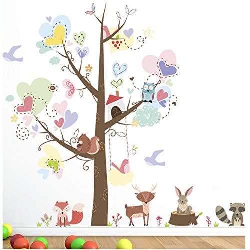 WTTTL sticker mural autocollant muralCute Owl Fox Bird Umbrella In The Rain Wall Decals For Kids Rooms Home Decor Cartoon Animals Wall Stickers Pvc Mural