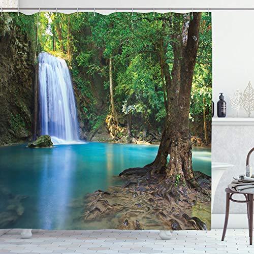 ABAKUHAUS Bos Douchegordijn, Azië Thailand Jungle Trees, stoffen badkamerdecoratieset met haakjes, 175 x 220 cm, Turquoise Green Brown