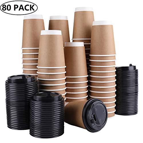 Lawei 80 Stück Kaffeebecher Pappbecher Kraftkarton Trinkbecher Einweg mit Deckel für Kaffee Tee Kakao Heißen & Kalten Getränke - 400ml