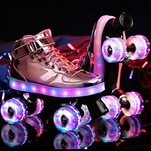 HHMGYH Rollschuhe Damen, Rollerskates Mädchen Roller Skates mit LED-Licht Double Line Skates 4 Wheels Two Line Skating Schuhe für Erwachsene,Rosa,34