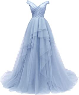 3d5981e10eb VKBRIDAL Women s Tiered Tulle Prom Dresses Long Off The Shoulder Formal  Party Ball Gowns