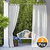 RYB HOME Linen Look Semi Sheer Curtains Outdoor Patio Panels, Tab Loop Top Privacy Sheer Curtains, Light Filter Voile for Porch, with 2 Free Ropes, Width 54 x Length 96 Inch, Set of 2