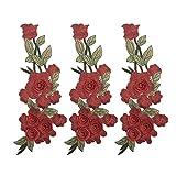 VALICLUD Parches Bordados en 3D de Flores Rojas Apliques de Hierro Parches de Ropa de Costura de...