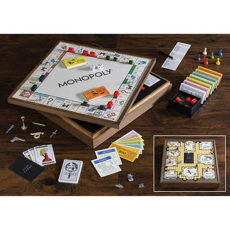 Monopoly and Clue 2in1 Deluxe Vintage Wood Game Set