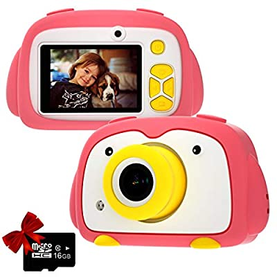 Kids Camera PANNOVO Digital Cam for Girls Rechargeable Video Recorder Cartoon Shockproof Silicone Case with 16GB SD Card 12MP HD 1080P 2 Inch Screen for 3-12 Year Old Boys Toddler from PANNOVO