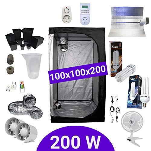 Kit de cultivo interior 200W CFL Crecimiento y floración - Armario 100x100x200 - Pearlpro