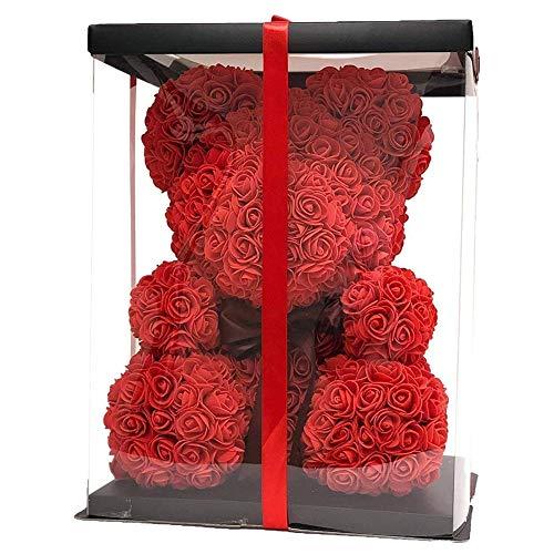 Teddy Bear Rose Dekorationsgeschenk, Home Decor Lady Or Kid Birthday, Handgemachte Rose Pattern Bear-Form Geschenk,Red