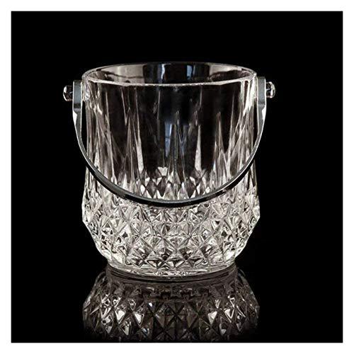 SQHY Cubierto de Vino Transparente Cubo de Bebidas Cubo de Hielo Cubo de Hielo de Vidrio, BeerBarrel Ice Cube Contenedor Enfriador de Vino Refrigerador Claro Manija 1231
