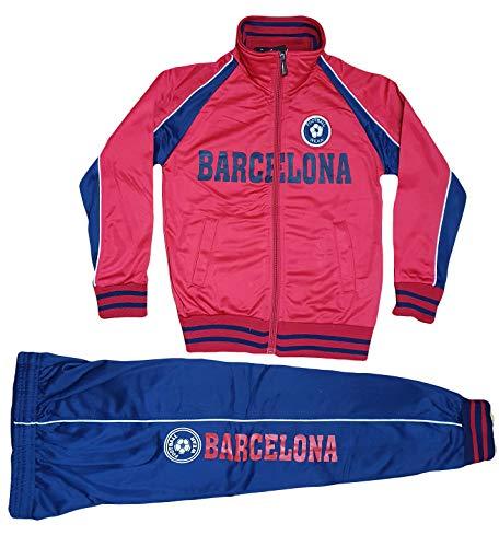 Style Kinder Jungen Mädchen Jogginganzug Trainingsanzug Sportanzug Hose Jacke Barcelona (Rot, 98 / 104)