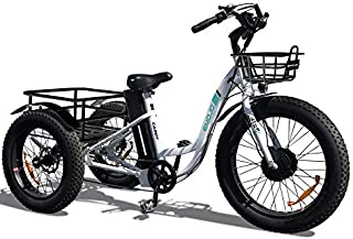 Emojo Caddy Electric Tricycle 24 Inch Fat Tire Electric Trike 3 Wheel Ebikes 48V 500W Electric Bike Electric Tricycle Lithium Battery Rear Basket Cargo (White)