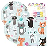 """Purr FECT Party Birthday Party Pack – Includes 7"""" Paper Plates & Beverage Napkins Plus 24 Birthday Candles – Serves 16"""
