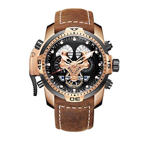 REEF TIGER Herren Uhr analog Automatik mit Leder Armband RGA3503-PBSG
