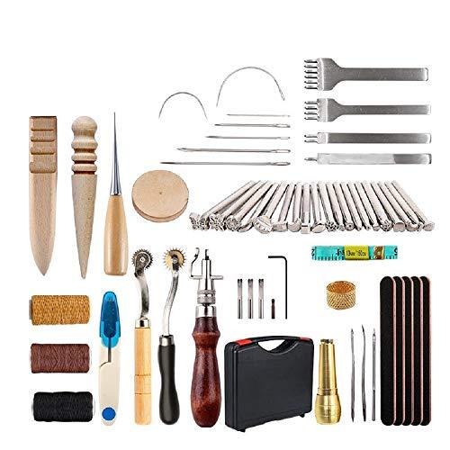 CHSEEO Artesanía del Cuero, 49 Piezas Juegos y Kits de Costura Kits de Repujado de Cuero Herramientas de Coser Perforadora de Cuero para Manualidades DIY Cuero Artesanía #7