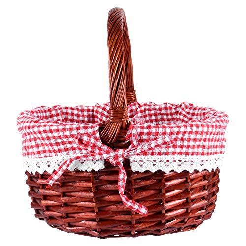 Angoily Cesta de Picnic de Mimbre Pequeña Caperucita Roja para Niños Mimbre Tejida a Mano para Cesta de Pascua Almacenamiento de Huevos de Pascua de Plástico Candy Gift Bodas Cestas