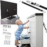Fernseher Kippschutz, Universal TV Kippsicherung, inklusive VESA Schrauben und Dübeln, 2er Set, auch für Möbel, Schränke, Regale