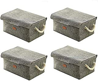 MU Grande boîte de rangement pliable, panier de rangement avec poignée décorative pour Toiletry Papeterie Jouets Mêle Jewe...