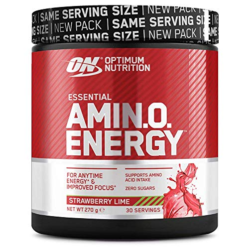 Optimum Nutrition Amino Energy Pre Workout Powder, Energy Drink with Beta Alanine, Vitamin C, Caffeine and Amino Acids, Strawberry Lime, 30 Servings, 270 g, Packaging May Vary