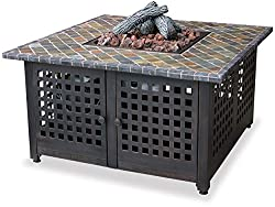 in budget affordable LPG outdoor fireplace with endless summer, GAD860SP, slate / marble fireplace