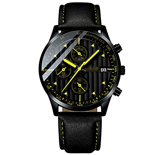BBZZ Reloj para Hombre Cronógrafo Reloj analógico con Movimiento de Cuarzo Reloj Deportivo de Moda 30M Impermeable, Duradero, Resistente a los arañazos, Elegante Regalo