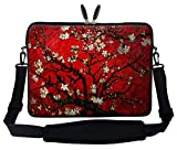 Meffort Inc 17 17.3 inch Neoprene Laptop Sleeve Bag Carrying Case with Hidden Handle and Adjustable Shoulder Strap - Vincent Van Gogh Cherry Blossoming