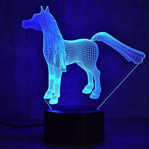 KJFGKF @ 3D nachtlicht 3D LED dekorative beleuchtung nachttischlampe pony tischlampe USB visuelle nachtlicht pferdebeleuchtung geschenke home decoration