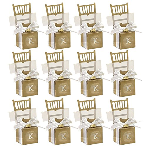 50PCS Chair Shaped Wedding Party Gift Favor Candy Box w/ Ribbon Bow Pendant Golden