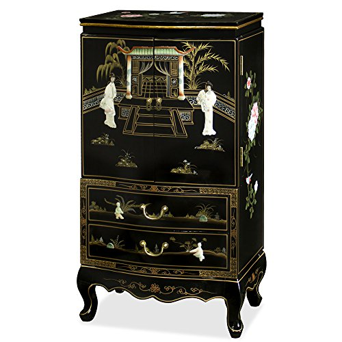 ChinaFurnitureOnline Black Lacquer Jewelry Armoire, Hand Painted Floral Motif with Mother of Pearl Maidens
