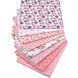 Yuelso 8pcs / Lot Serie Floral Rosada Impresa Sarga de algodón Remiendo de la Tela del paño de Costura DIY Materiales acolchar for los niños del bebé