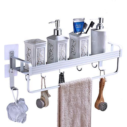 Yeegout adhesivo estanteria ducha con barra de toalla y ganchos, aluminio Espesamiento estanteria baño sin taladro montado en la pared estante para baño para cocina (1 nivel)