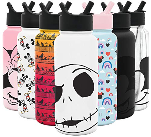 Simple Modern Disney Character Insulated Water Bottle Tumbler with Straw Lid Reusable Stainless Steel Wide Mouth Travel Cup, 32oz, Nightmare Before Christmas