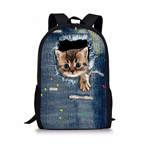 Nopersonality Backpack for Teenage Girls in School Novelty Denim Cat Pattern Bookbags Blue
