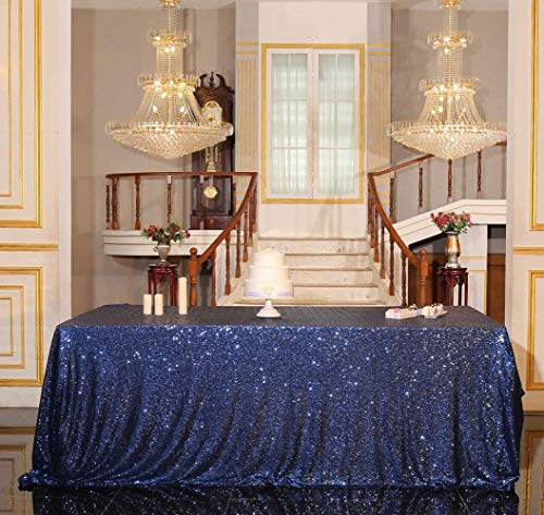 "PartyDelight Sequin Tablecloth, Wedding, Sweetheart, Christmas Tree, Rectangular, 48""x72"", Navy Blue"