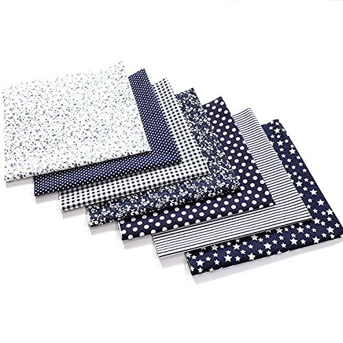 Baumwollstoff Meterware (25x24CM), 100% Baumwolle Stoffe zum nähen, 7 Pcs DIY Patchwork Stoffe Paket, Umweltschutz Drucken Baumwolle Stoff für Alle Arten von Kleinen Handgemachten (#16, 25 * 24CM)