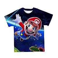QIQIO 子供のためのユーモラスな3DプリントTシャツ,夏のカジュアルウェア,クラシックゲーム,赤,クール