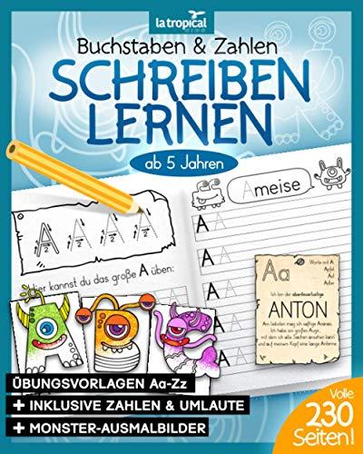 Buchstaben und Zahlen schreiben lernen ab 5 Jahren: Hilfe, die Monster sind los! Mein großes Monster-ABC + Die Zahlen-Ungeheuer von 1-10. Der Übungsblock mit 230 Seiten. BONUS: Viele Malbilder