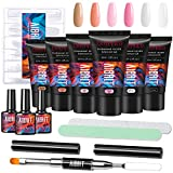 Poly Gel Nail Kit, Aibrit 30ML 6PCS Poly Nail Extension Gel Nail Builder with Base and Glossy/Matte Top Coat, All-in-One Poly Nail Art Starter Kit for Nail Manicure DIY at Home