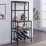 OIAHOMY Industrial Wine Bakers Rack,4-Tier Wine Rack Freestanding Floor with Wine Storage and Glass Holder,Multi-Function Home Bar Furniture Wine Bar Cabinet for Home Kitchen Dining Room