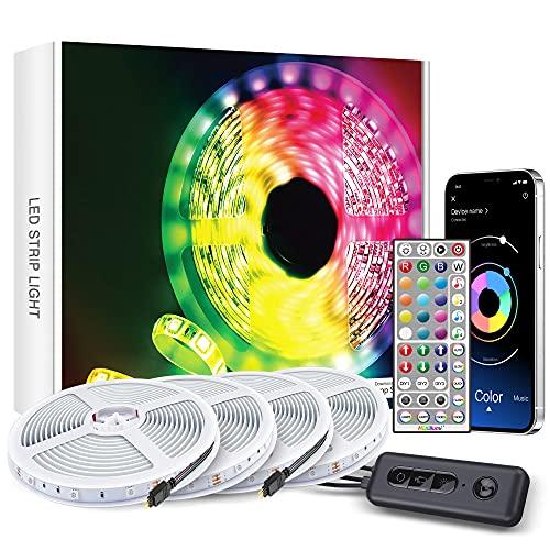 Ruban Led Bleutooth 24M, Bande Led Chambre 5050 RGB, Multicolores Lumiere Led avec Télécommande APP,LED Ruban Décorative pour Maison Chambre Cuisine