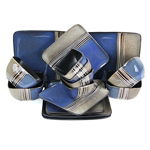 Elama Square Stoneware Loft Collection Dinnerware Dish Set, 16 Piece, Blue and Tan with White Accents