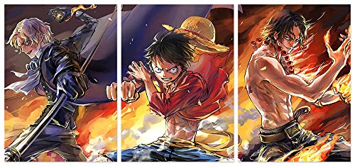Hunbeauty art One Piece Poster Luffy Anime Sabo Ace Prints on Canvas Unframed Wall Decoration for Home Living Room Club Decor