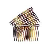 52-301 - Set 2 Pettinini per capelli fianchini cm 6 stondati con fila strass cristallo - Pettinino per capelli Fianchino (tartaruga)