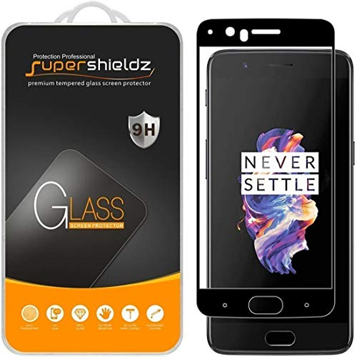 (2 Pack) Supershieldz for OnePlus 5 Tempered Glass Screen Protector, (Full Screen Coverage) 0.33mm, Anti Scratch, Bubble Free (Black)